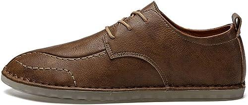 Chaussures Chaussures Richelieus Hommes à Lacets Décontracté Rétro Modernes De Couleur Unie en Cuir  Achetez maintenant