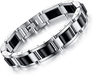 Feraco Stainless Steel Mens Magnetic Therapy Bracelets for Arthritis Pain Relief with..