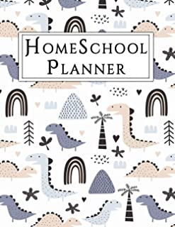 Homeschool Planner: Beautiful Undated Homeschool Lesson Planner For Kids, track chores & Goals with gratitude journal (din...