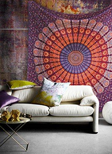 Popular Handicrafts Wandbehang / Tagesdecke im indischen Stil mit Elefant, Mandala, 140 x 210 cm, Kastanienbraun