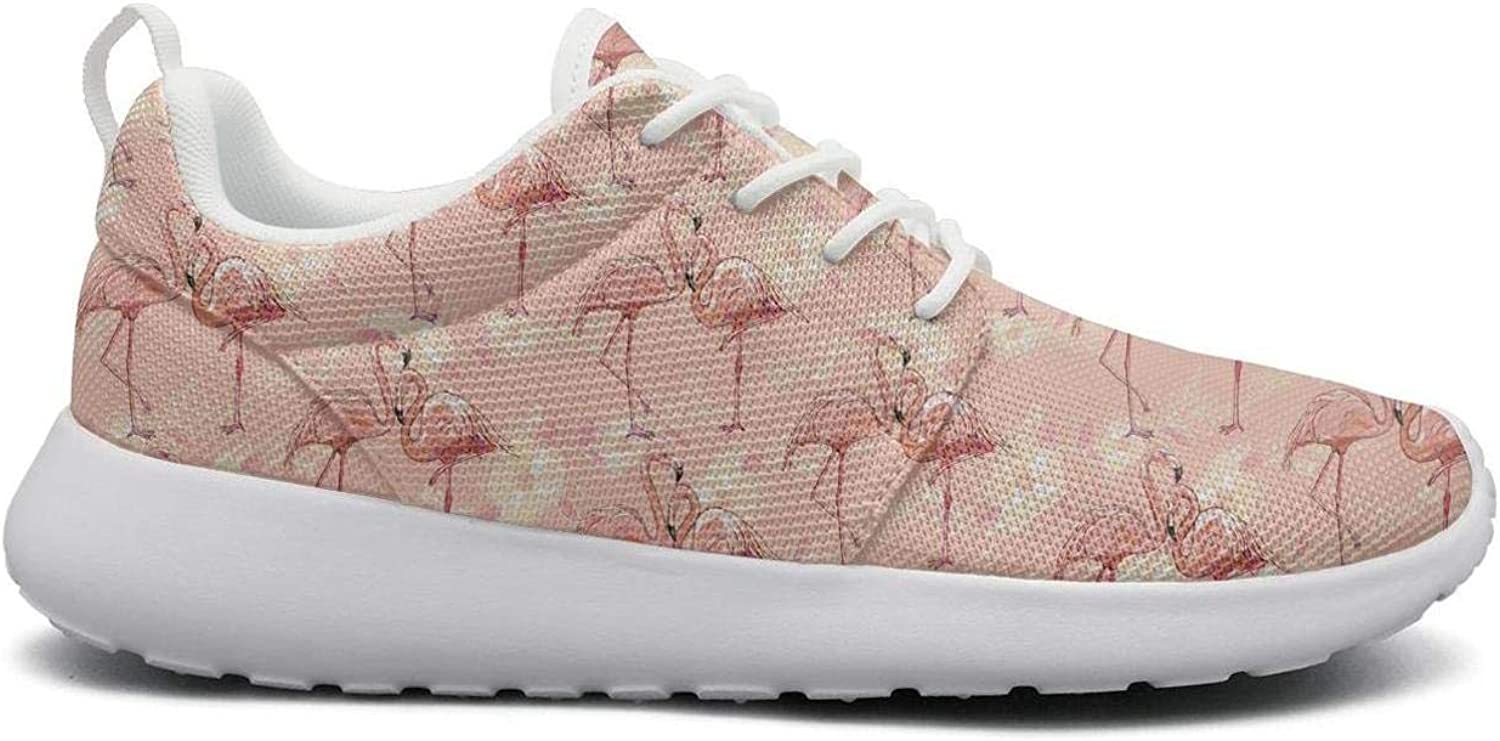 For Women Ultra Lightweight Breathable Mesh Athleisure Sneakers Tropical Floral Flamingo Bird Pink Fashion Walking shoes