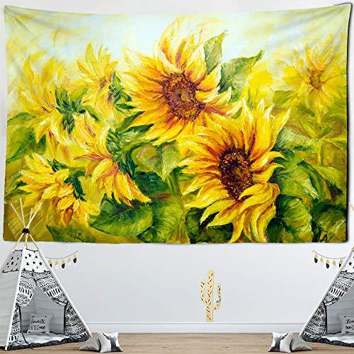 Tapiz colgante de pared de girasol, tapete decorativo con estampado retro, alfombras de pared bohemia, decoración de dormitorio-150x130cm