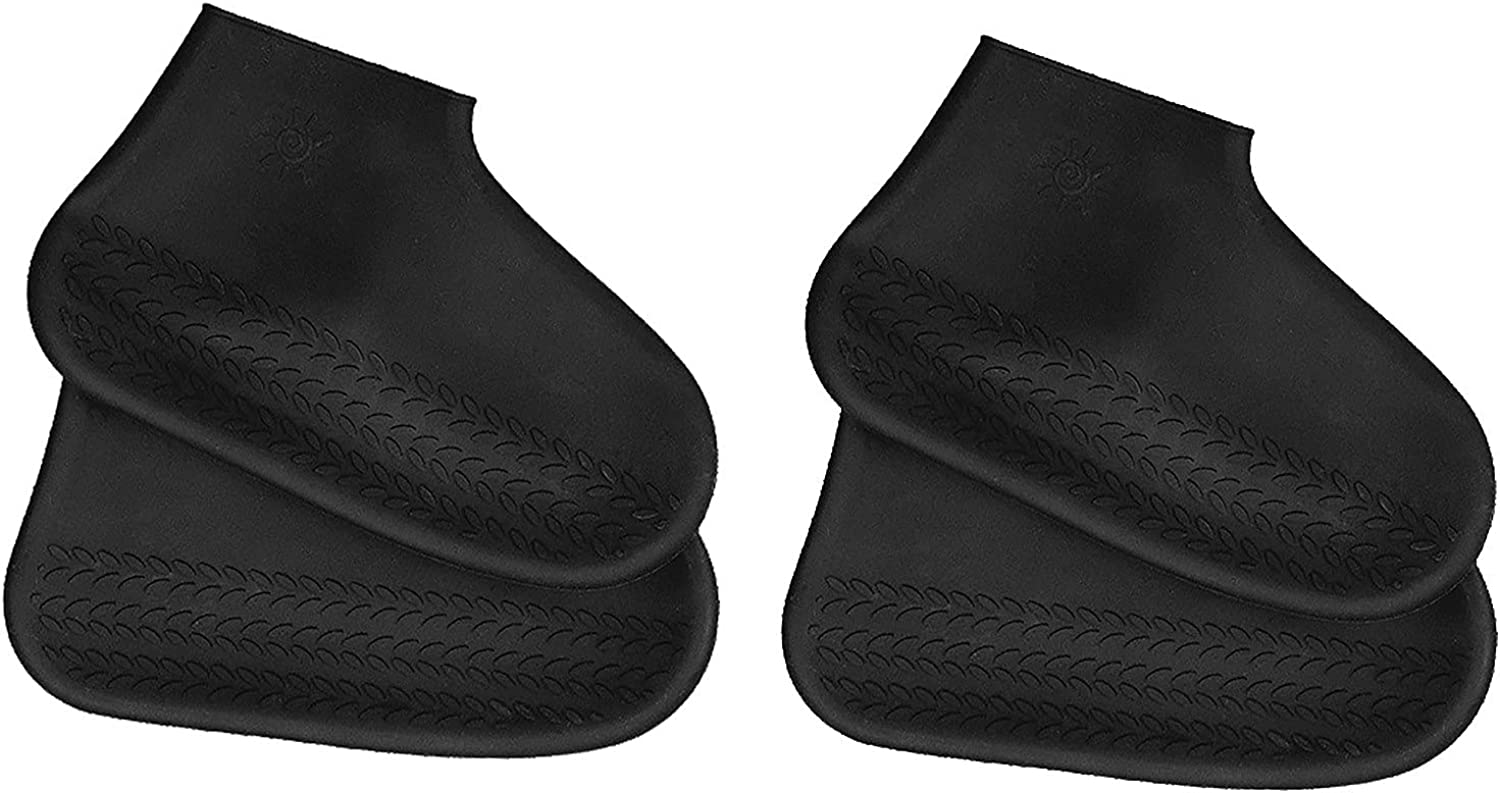 New Simple Unisex Outdoor Walking No-Slip Black Silicone Rain Shoe Comfortable Lightweight Sold Color Covers Reusable Waterproof Travel Rain Boots