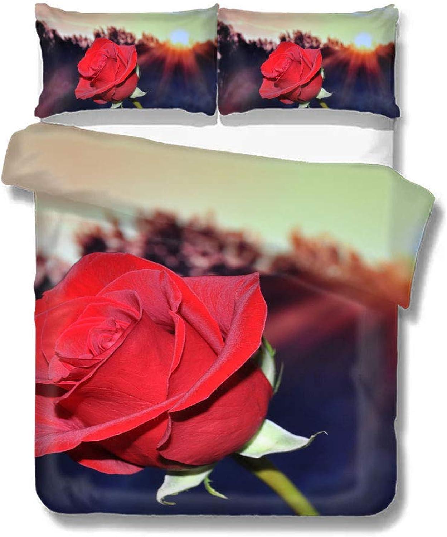 Duvet Cover pink Red Flower Sunshine Home Bedding Duvet Cover Set Soft Comfortable Breathable Twin Size