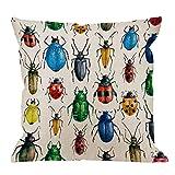 Käfer-Kissenbezug, dekorative Dekokissen Käfer Aquarell Hexapod Bug Kissenbezüge Baumwolle Leinen...