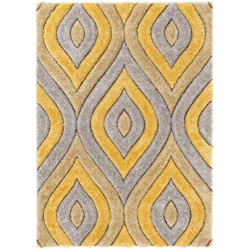 Well Woven Moira Yellow Geometric Trellis Thick Soft Plush 3D Textured Shag Area Rug 5x7 (5'3' x 7'3')