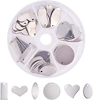 PandaHall Elite 60 Pcs 304 Stainless Steel Flat Round Oval Heart Rectangle Blank Stamping..