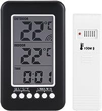 Zerodis Thermometer temperatuur klimaatregeling Thermo Digitaal LCD-display met klok voor binnen en buiten