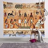 KHKJ Farbiger Wandteppich im ägyptischen Stil Wandbehang Mandala Pharao Tagesdecke Throw Hippie Cover Art Dekorativ A4 200x180cm