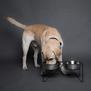 Pets Empire Wrought Iron Dog Bowl Stand Collection Diner for Dogs and Cats Stainless Steel Food and Water Bowls (Large (90...