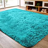 ACTCUT Ultra Soft Indoor Modern Area Rugs Fluffy Living Room Carpets for Children Bedroom Home Decor Nursery Rug 4x5 Feet, Blue