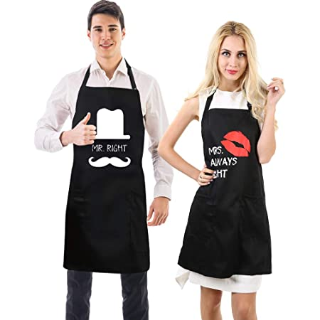 """Uarter Divertente da cucina Grembiuli per le coppie """"Mr. Right Mrs. sempre ragione"""" con 2 tasche Nero Grande, confezione da 2"""