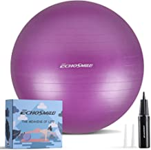 EchoSmile Exercise Ball, 65cm Extra Thick Yoga Ball, Anti-Burst Heavy Duty Stability Ball Supports 440lbs, Gym Ball with Q...