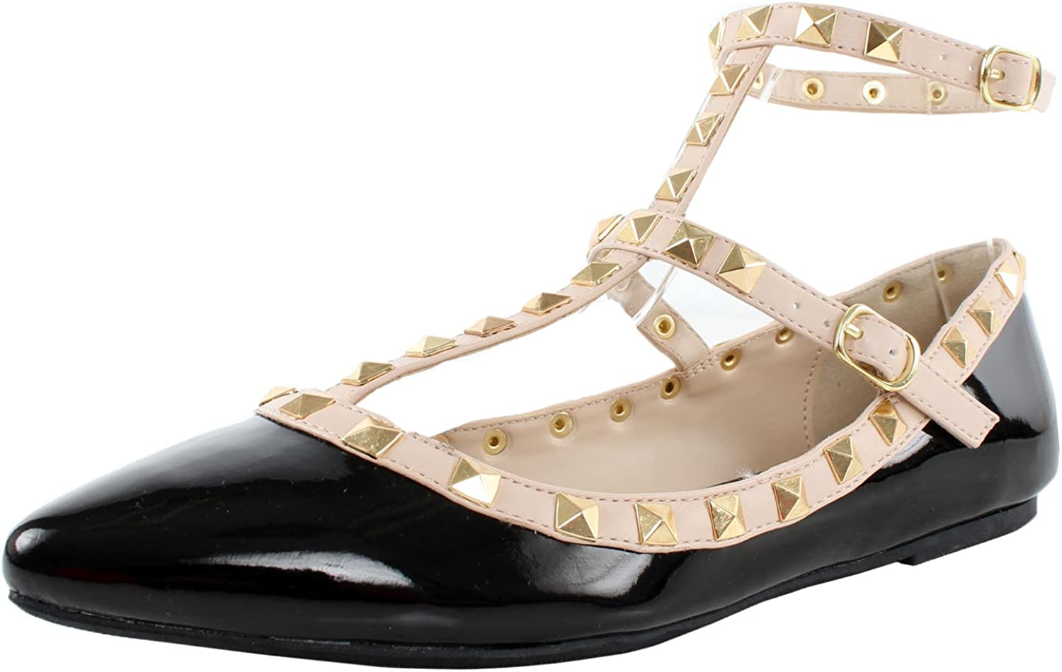 Wild Diva Women's Studded Accent Pointed Toe Ballet Flats