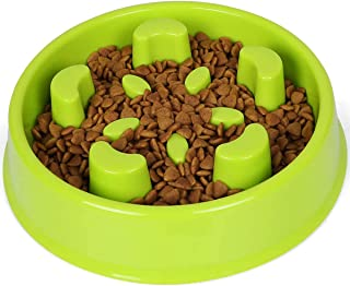 Dog Bowl Slow Feeder - Large 500ml Healthy Eating Pet Interactive Feeder with Anti-Skid Non-Slip Grip Base (Green02)