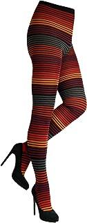 CRÖNERT Damen Strumpfhose Strickstrumpfhose Design Viele Ringel 72802 Farbe rot