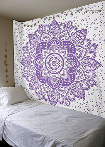 Sparkly Purple Gold Ombre Tapestry by Labhanshi, Mandala Tapestry Queen Indian Mandala Wall Art Hippie Wall Hanging Bohemian Bedspread
