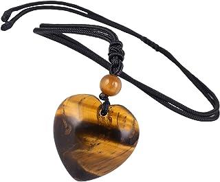 تومبيلووا منحوت حجر القلب قلادة شاكرا كوارتز مع حبل التعويذة شفاء كريستال مجوهرات للجنسين