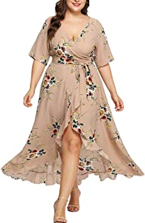 Party Dress Plus Size Long Dress Women Casual Short Sleeve Cold Shoulder Boho Flower Print