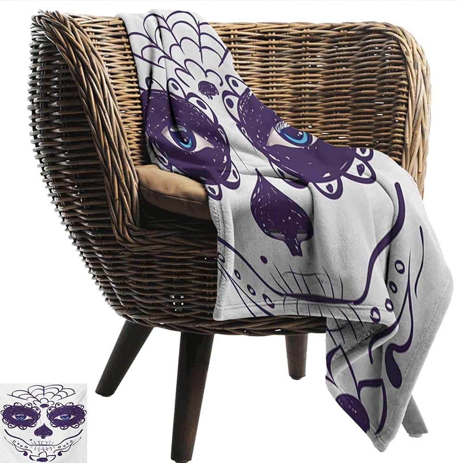 Day of The Dead Decorative Throw Blanket Dia de Los Muertos Sugar Skull Girl Face with Mask Make up Print Bedroom Warm 60  Wx60 L