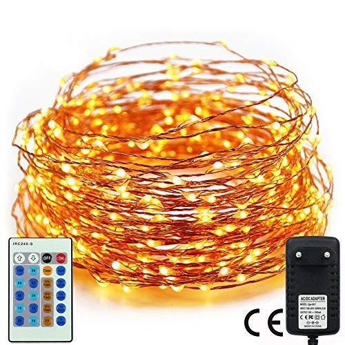 480 LED Dimmbare Weihnachten Lichterkette,RcStarry(TM) 80Ft/24M 480 LEDs kupferdraht Lichterkette mit mehrfunktionale Remote Controller für Weihnachten/Deko/Party/Hochzeit, Warmweiß
