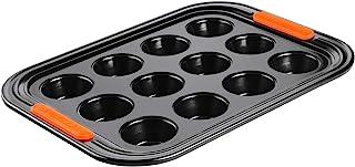 Le Creuset Non-stick muffinsform, för 12 stycken (Ø 7 cm), PFOA-fri, surdegbeständig, tillverkad av kolstål, antracit/orange