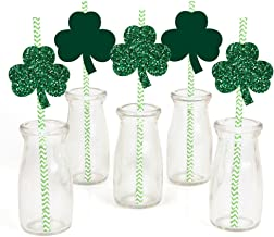 St. Patrick`s Day Paper Straw Decor - Saint Patty`s Day Party Striped Decorative Straws - Set of 24
