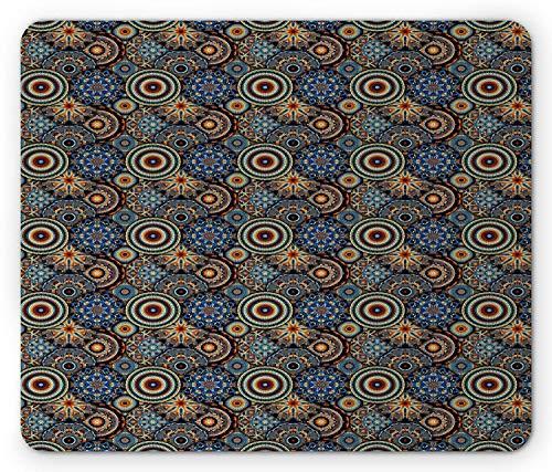 Mosaik-mauspad, Altmodische renaissance-motive kreisförmige geometrische fraktale vintage-design-fliese, Rechteck-rechteck-rutschgummi-mousepad