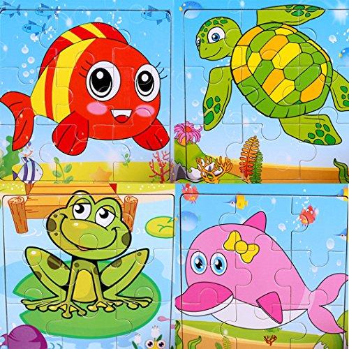 SIPLIV Rompecabezas de Madera Rompecabezas de 9 Piezas para niños de 2 a 5 años, Juego de 4, Animales acuáticos