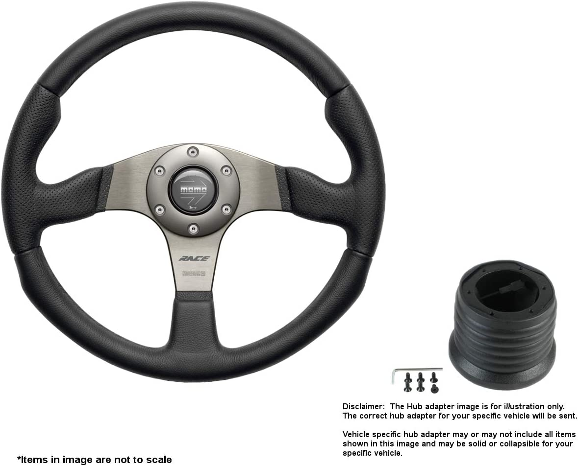 MOMO Race 320mm 12.6 Inches Leather New Shipping Free Shipping w High order Brushed Wheel Steering A