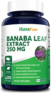 Banaba Leaf Extract 250mg 200 Vegetarian Caps (Non-GMO & Gluten Free) 2% Corosolic Acid - Supports Healthy Blood Sugar Lev...