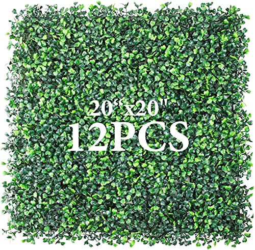 """Artificial Greenery Boxwood, Privacy Fence Screen Faux Plant, UV Resistant Topiary Hedge, for Outdoor Indoor Use as Wall Backdrop, Garden, Backyard, Event Decorations (20"""" x 20"""")"""