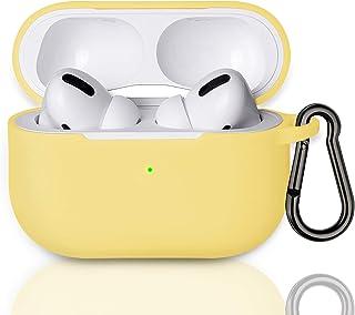 MATEPROX Airpods Pro Hoes, Draagbare siliconen Siliconen Hoesje Huid met karabijnhaak, Zichtbare Front LED, Beschermhoes c...