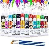 Pintura Acrílica, 24 Tubos Colores Pintura Acrilico con 3 Pinceles, Pinturas Acrílicas to Niños, Principiantes y Profesionales, para Lienzo, Papel, Madera, Tela -12ml