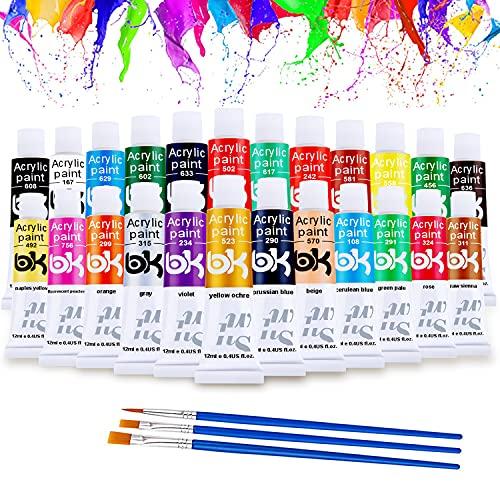 ANYE Colori Acrilici, 24 Tubetti x 12 ml Colori Acrilici Dipingere con 3 pennelli, Bambini Colori Acrilici Set Pittura per Principianti & Professionisti per Carta,Tela,Legno,Ceramica,Tessuti
