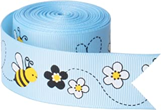 Blue Bees Fabric Ribbon for Crafts Gift Wrapping Decor, 16.4 ft x 25 mm