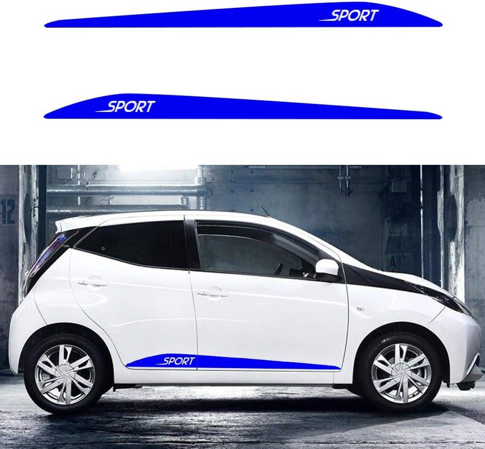 Cobear Auto Seitenstreifen Seitenaufkleber Aufkleber Für T Oyota Aygo Arius Yaris Rennstreifen Racing Decals Viperstreifen Blau 2 Stück Auto