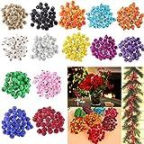 200pcs Mini Weihnachten Dekoration Künstliche Frucht Beere Holly Blumen - Rot - 7