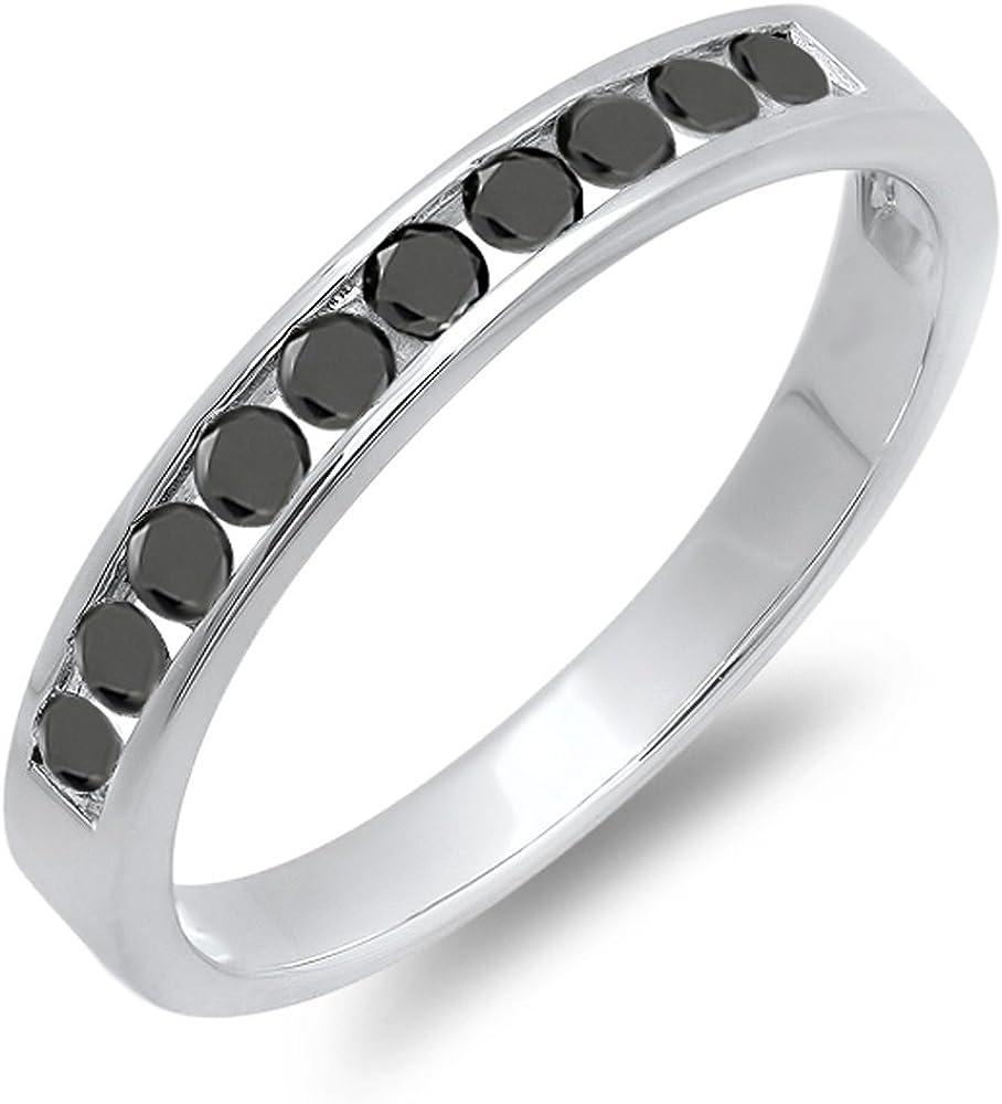Dazzlingrock Collection 0.40 Carat (ctw) 10k Round Black Diamond Ladies Anniversary Wedding Stackable Ring Band, White Gold