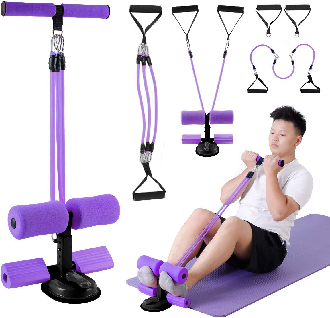 genrice Sit Up Bar for Floor Assistant Chest Workout Yoga Bands at Home Workout Multifunctional Fitness Equipment for Leg Puller//Sit-ups//Arm Stretch//Abdominal Exercise