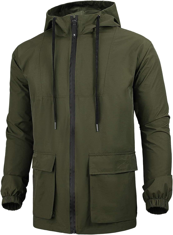 WULFUL Men's Lightweight Jacket Waterproof Hooded Outdoor Jackets Casual Outwear
