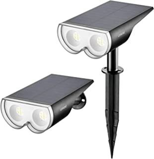 Linkind 16 LED Solar Landscape Spotlights, Dusk-to-Dawn IP67 Waterproof Solar Powered Spot Lights, 6500K Daylight White, Outdoor Wall Lights for Garden Yard Driveway Porch Walkway, 2 Pack