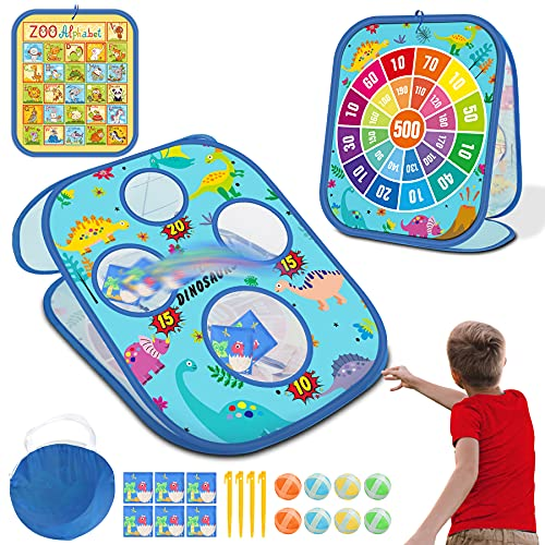 4 in 1 Bean Bag Toss Game Toy  Multifunctional Game Dart Board with 8 Sticky Balls Bean Toss Game with Collapsible Double Cornhole Toy for Toddlers Kids Ages 2-8 Year Old Outdoor Toys As Birthday Gift