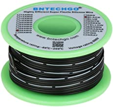 alta temperatura de silicona BNTECHGO Cable de cinta de silicona 50 pies cable de cobre 4P calibre 28 cable paralelo suave 200 grados C negro cable plano de 28 AWG 600 V flexible 4 pines