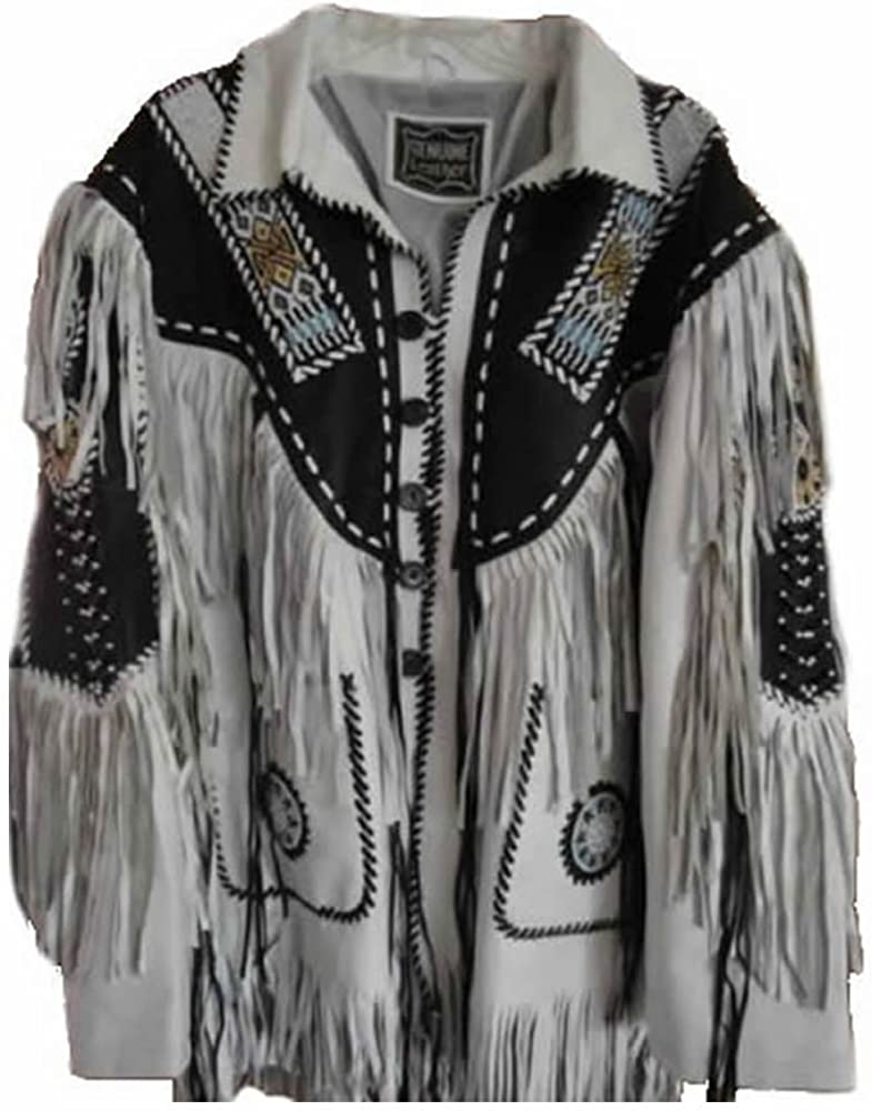 coolhides Men's Western Leather Coat with Fringes and Beads