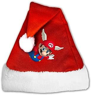 Super Mario Bros Games Unisex Santa Hat Comfort Headwear Fun Pom Cap For Christmas New Year Party M