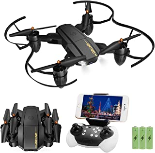 Quadcopter Drone with Camera for Beginners Adult Kids Gifts, JoyGeek Foldable Remote Control Helicopter WiFi Live Video FPV RC Drones Easy to Fly with Headless Mode/Altitude Hold /3D Flips/App Control