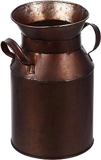Hemoton Farmhouse Bucket Vase Jarrones de Bronce Antiguos Metal Leche Puede Jarra Jarrón Jarra Rústico Decorativo Flor Tit...