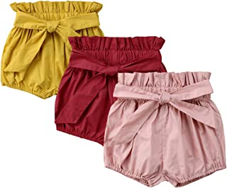 Toddler Girls' Solid Color Bowknot 3-Pack Cotton Shorts...