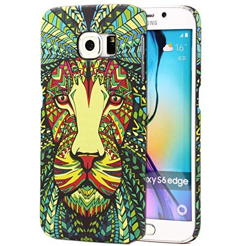 Urcover Custodia Compatibile con Samsung Galaxy S6 Edge Tatoo Back Cover Rigida policarbonato Anti-Scratch Protezione Retro Arte Animali Multicolore Case - Disegni Leone